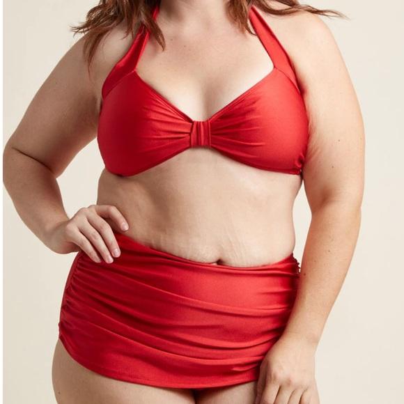 Modcloth Other - ModCloth Red Swimsuit High Waisted Bikini EUC